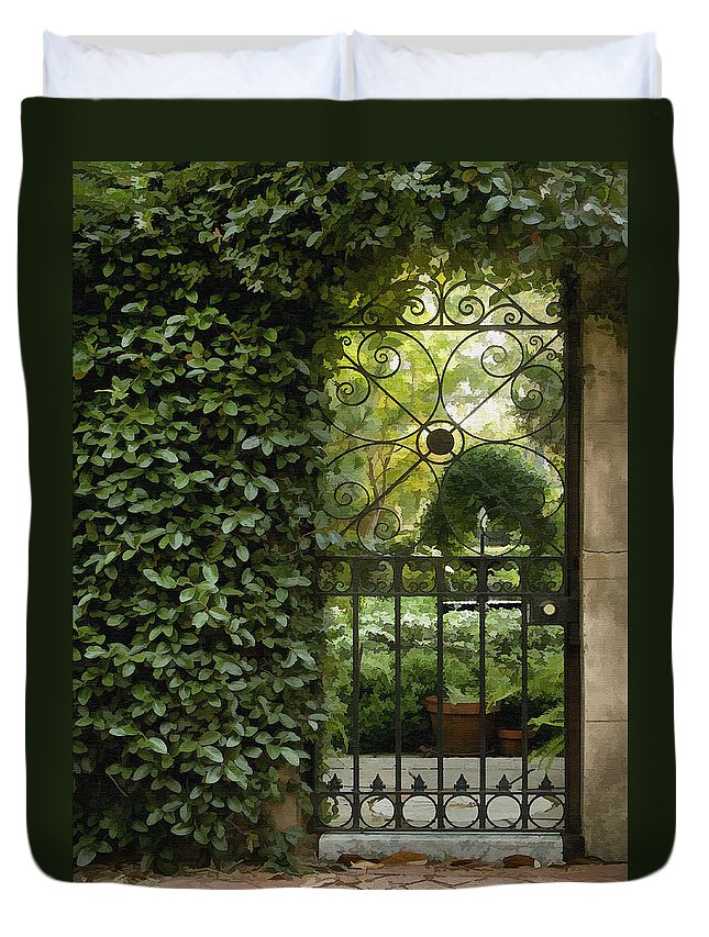 Architecture Duvet Cover featuring the photograph Savannah Gate by Sharon Foster