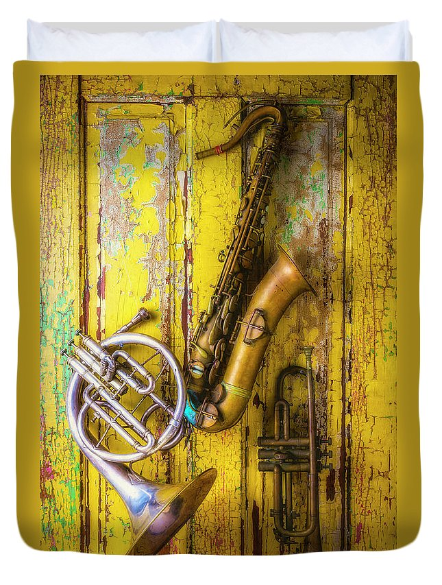 Sax Duvet Cover featuring the photograph Sax French Horn And Trumpet by Garry Gay