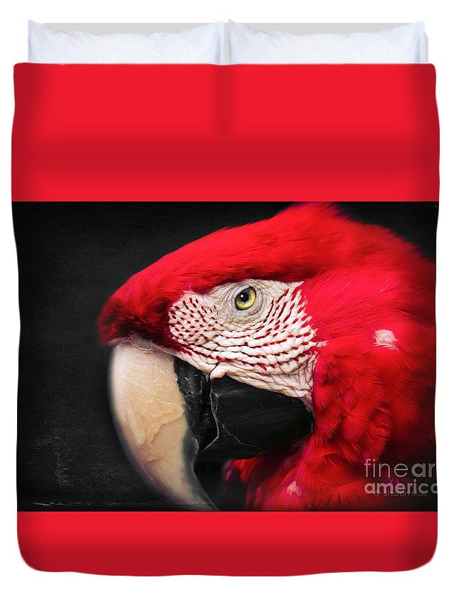 Scarlet Macaw Duvet Cover featuring the photograph Scarlet Macaw - Ara Macao by Sharon Mau