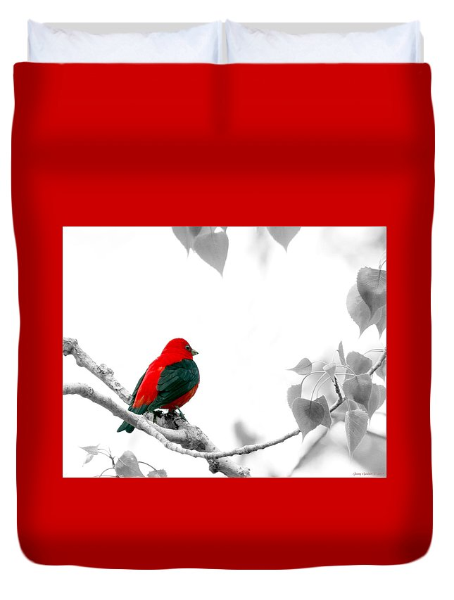 Photoshop Duvet Cover featuring the digital art Scarlet Tanager by Jenny Gandert