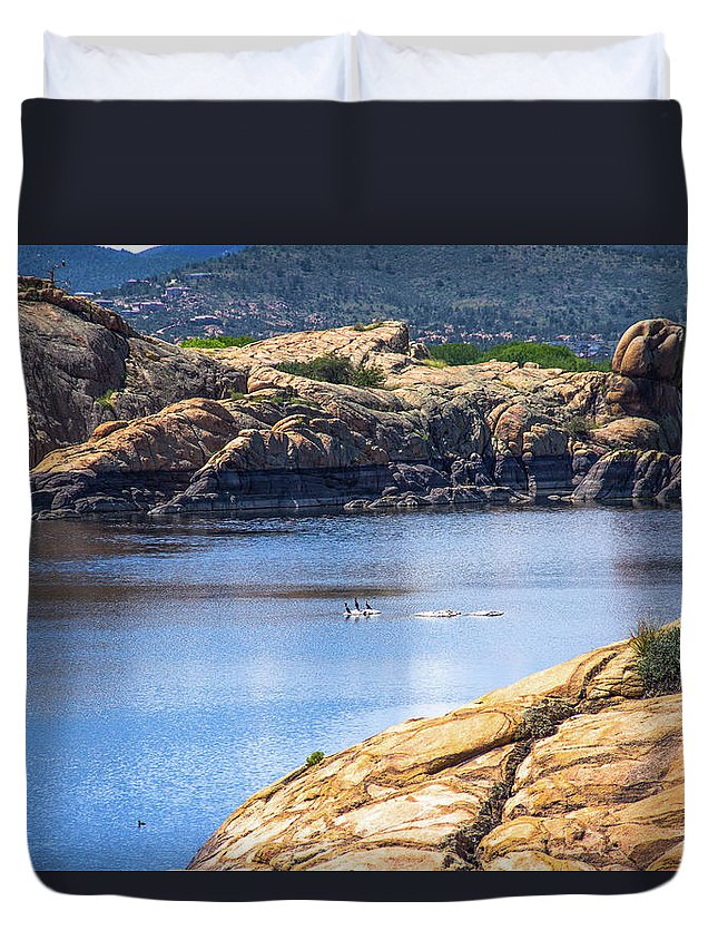 Landscape Duvet Cover featuring the photograph Scenic Willow Lake by Amy Sorvillo