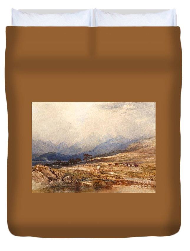 Anthony Vandyke Copley Fielding Duvet Cover featuring the painting Scottish Landscape With Drover And Cattle by Celestial Images