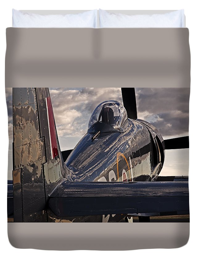 Aviation Duvet Cover featuring the photograph Sea Fury Reflections by Rick Pisio