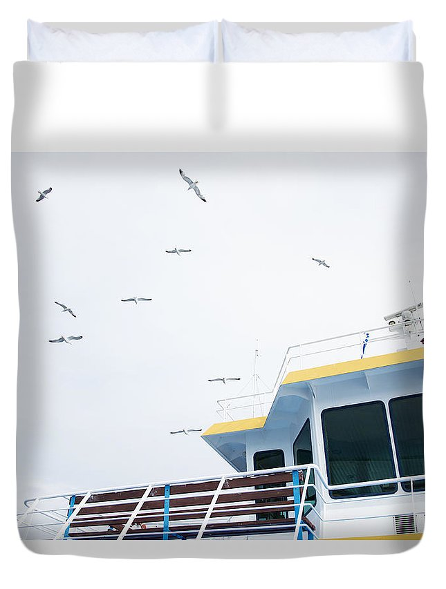 Blue Duvet Cover featuring the photograph Seagulls Over Ferry Boat by Newnow Photography By Vera Cepic