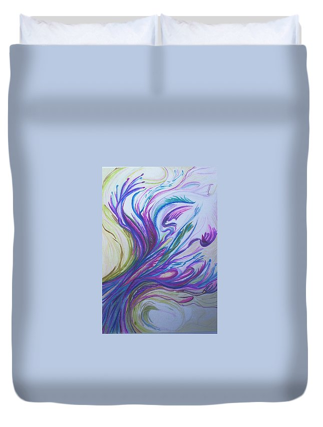 Abstract Duvet Cover featuring the painting Seaweedy by Suzanne Udell Levinger