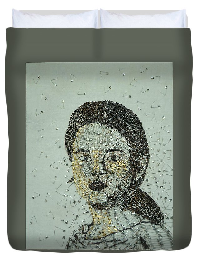 Portrait Duvet Cover featuring the painting Self Portrait by Ashini Shashipraba