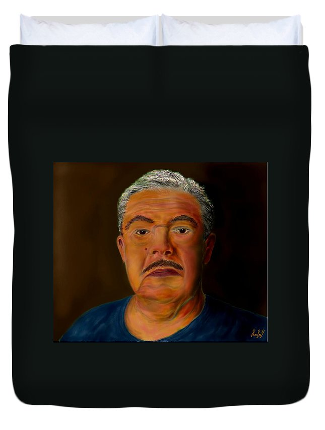 Selfportrait Duvet Cover featuring the painting Selfportrait by Helmut Rottler