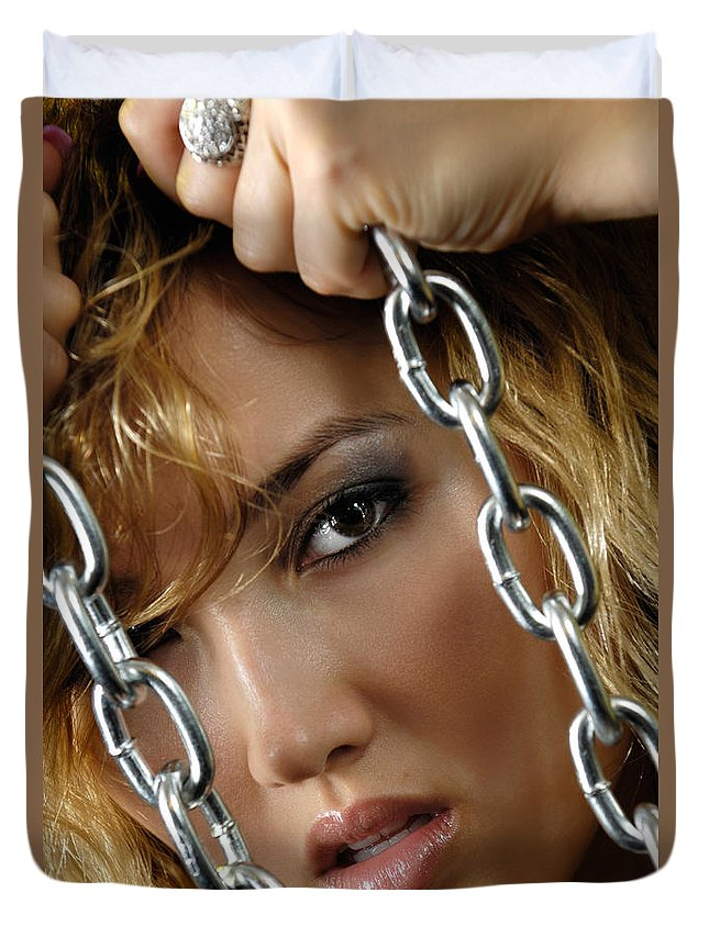 Face Duvet Cover featuring the photograph Sensual Woman Face Behind Chains by Oleksiy Maksymenko