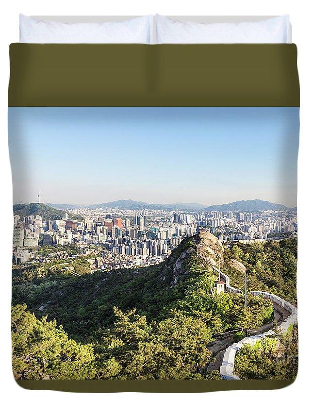 Inwangsan Duvet Cover featuring the photograph Seoul City Wall From Inwangsan Mountain In South Korea Capital C by Didier Marti