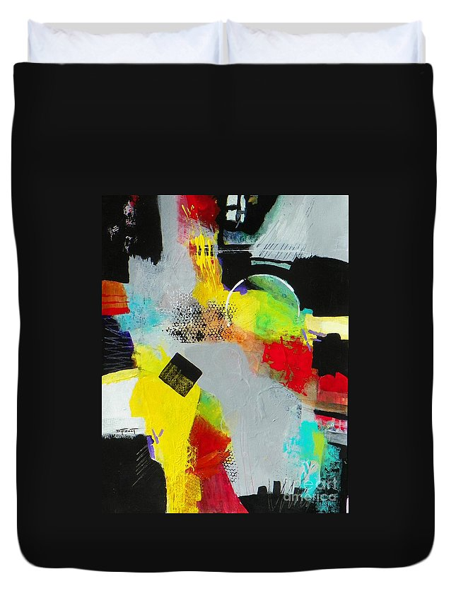 Abstract Expressionism Duvet Cover featuring the painting Serenity In Chaos by Donna Frost