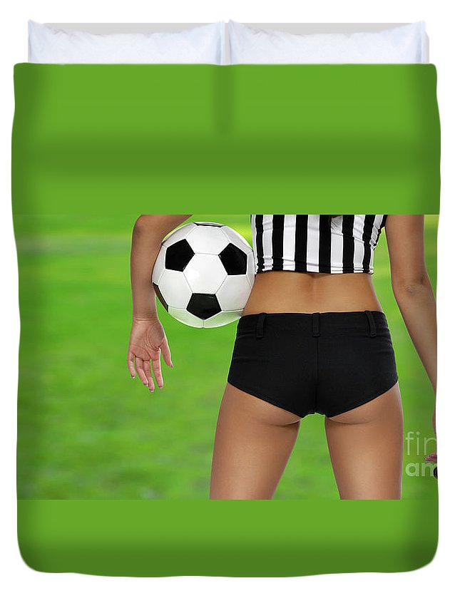 Soccer Duvet Cover featuring the photograph Sexy Referee by Oleksiy Maksymenko
