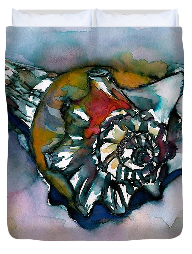 Shell Duvet Cover featuring the painting Shell Collection by Bev Veals