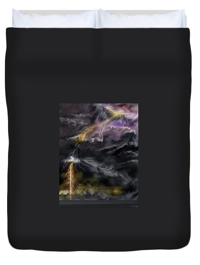 Seascape Duvet Cover featuring the painting Shock And Awe by Anne Norskog