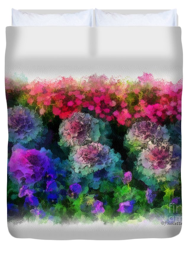 Flower Duvet Cover featuring the painting Signs Of Spring by Paulette B Wright