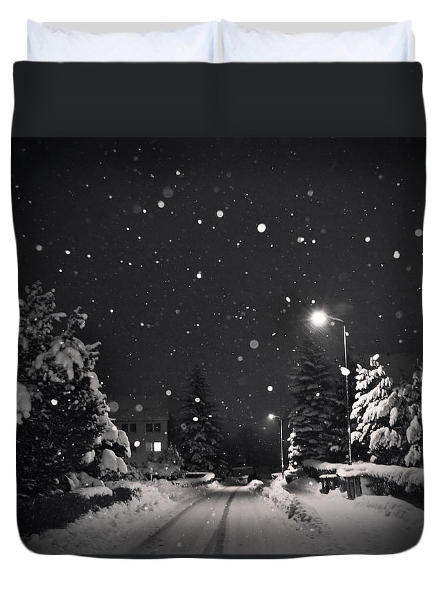 Snow Duvet Cover featuring the photograph Silent Night by Dorit Fuhg