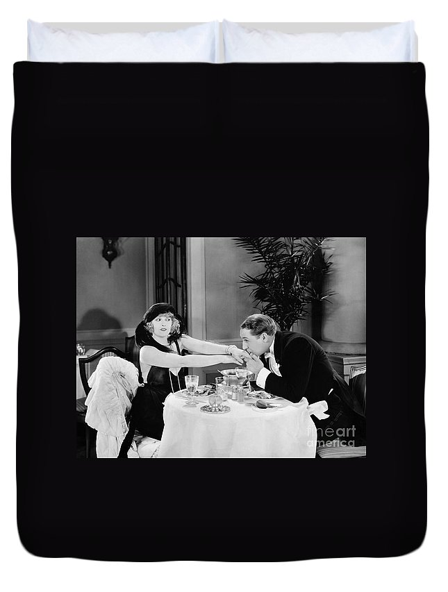 -kissing Hand- Duvet Cover featuring the photograph Silent Still: Hand Kissing by Granger