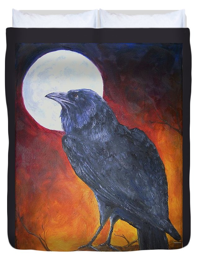 Raven Duvet Cover featuring the painting Sister by Deana Smith
