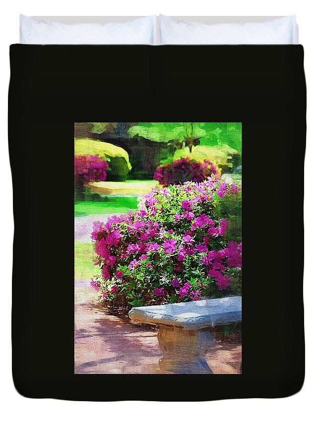 Landscape Duvet Cover featuring the photograph Sit A Spell by Donna Bentley