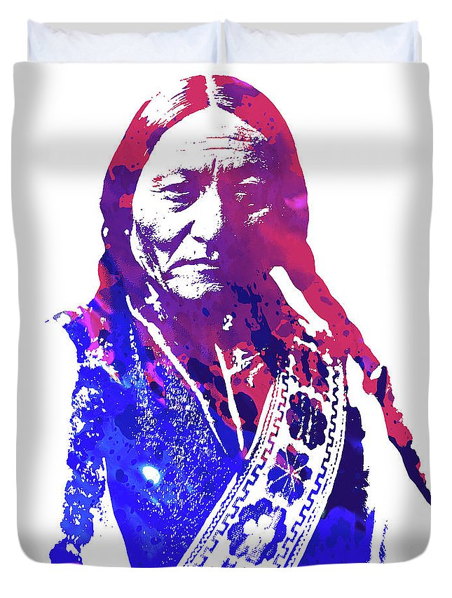 Sitting Bull Duvet Cover featuring the drawing Sitting Bull by Greg Joens