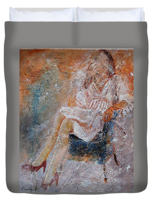 Girl Duvet Cover featuring the painting Sitting Young Girl by Pol Ledent