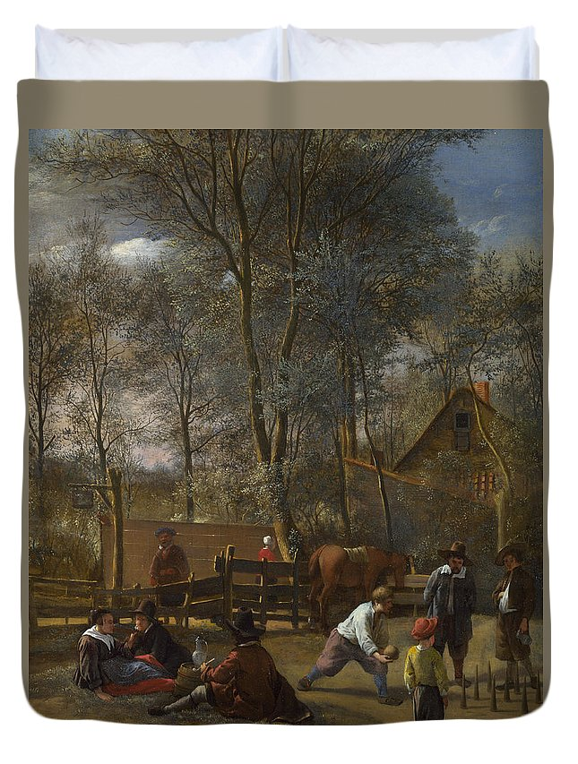 Arts Duvet Cover featuring the painting Skittle Players Outside An Inn by Jan Steen