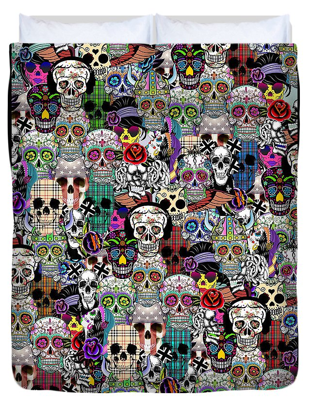 Pattern Duvet Cover featuring the painting Halloween by Mark Ashkenazi