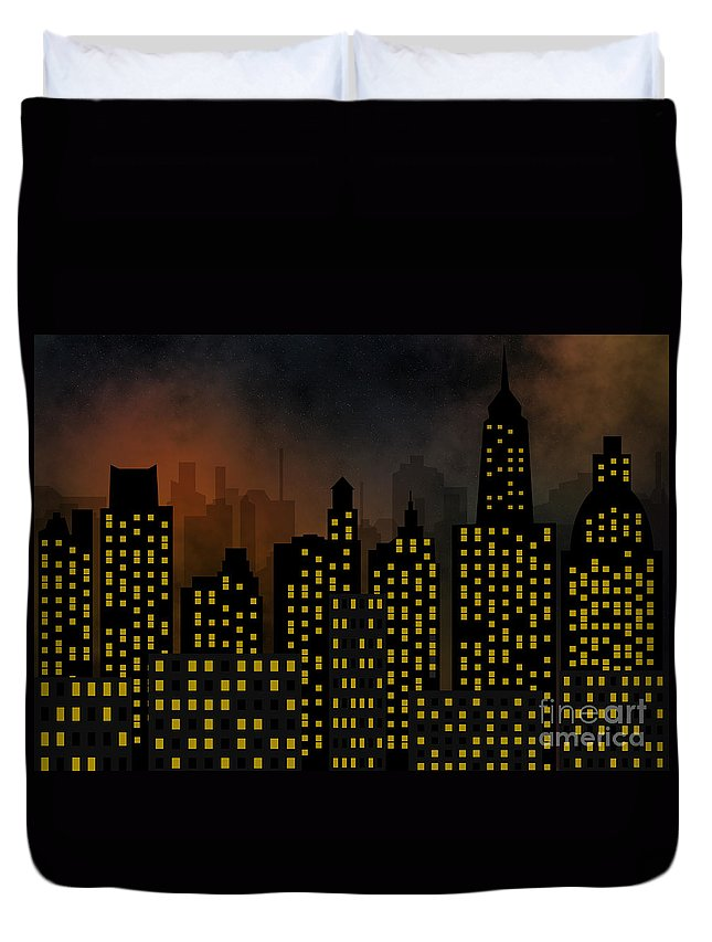 Modern Duvet Cover featuring the digital art Skyscrapers - Panorama Of Modern Skyscraper Town by Michal Boubin