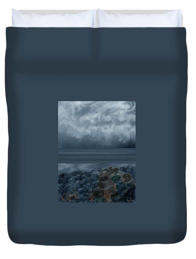 Seascape Duvet Cover featuring the painting Slack Tide on the Jetty by Anne Norskog