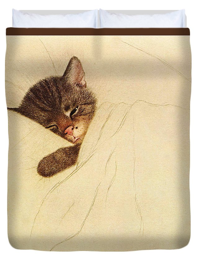 Chessie Duvet Cover featuring the drawing Sleep Like A Kitten by Guido Gruenwald