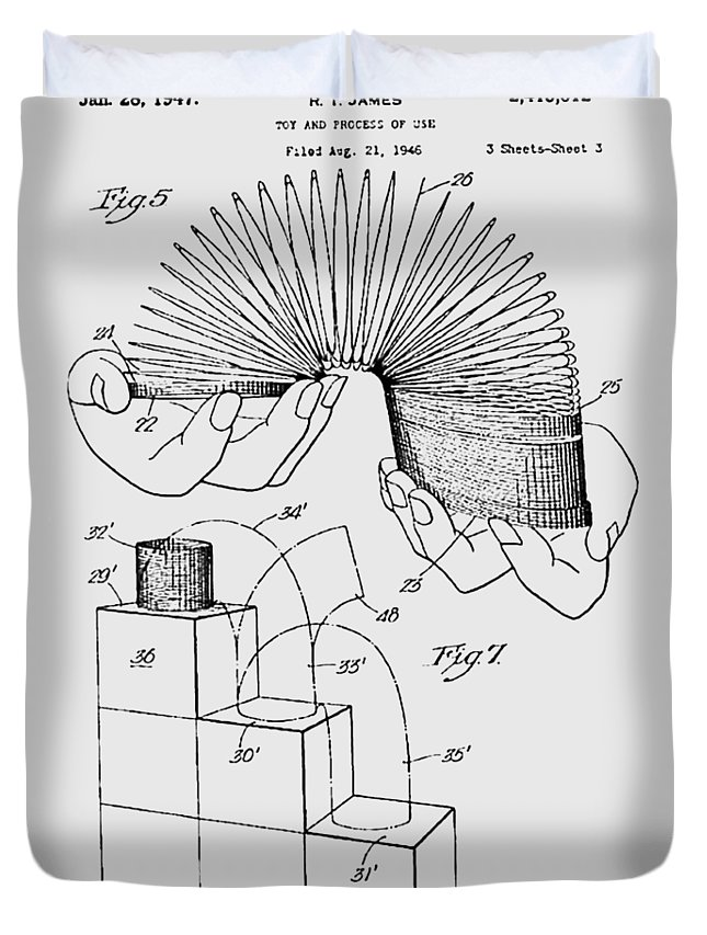 Slinky Duvet Cover featuring the photograph Slinky Patent 1947 by Chris Smith