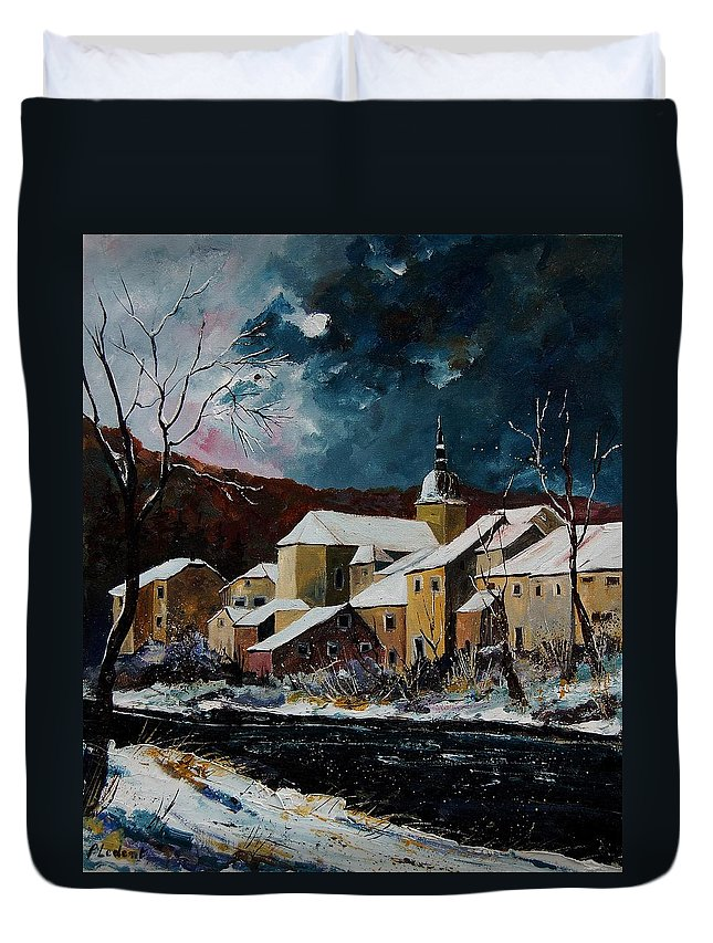 Winter Duvet Cover featuring the painting Snow In Chassepierre by Pol Ledent