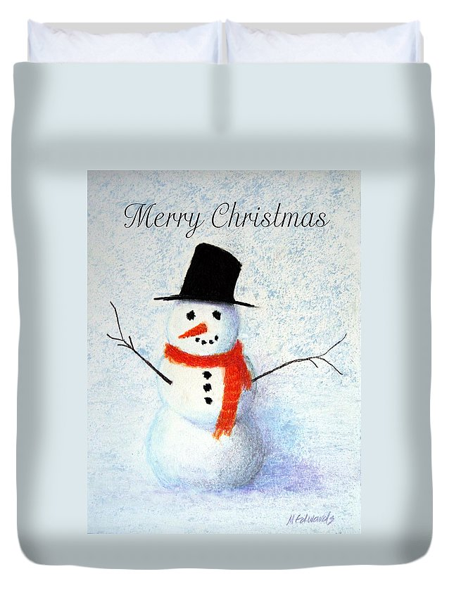 Christmas Duvet Cover featuring the pastel Snowman by Marna Edwards Flavell