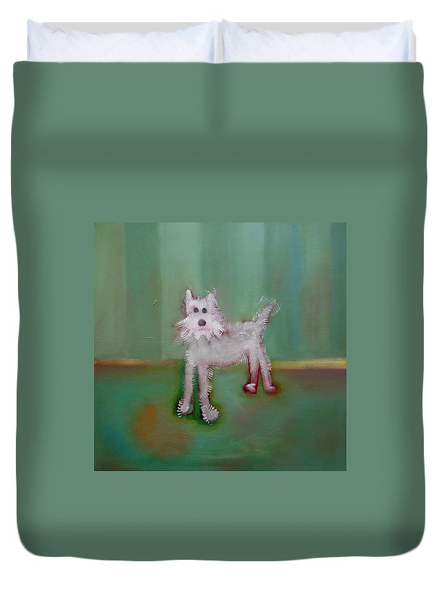 White Puppy Duvet Cover featuring the painting Snowy by Charles Stuart