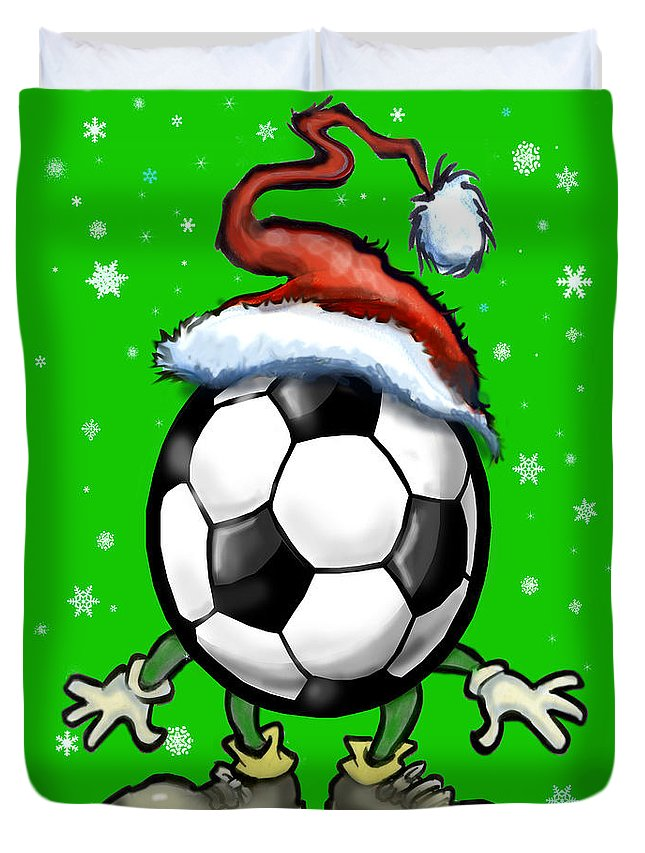 Soccer Duvet Cover featuring the greeting card Soccer Christmas by Kevin Middleton