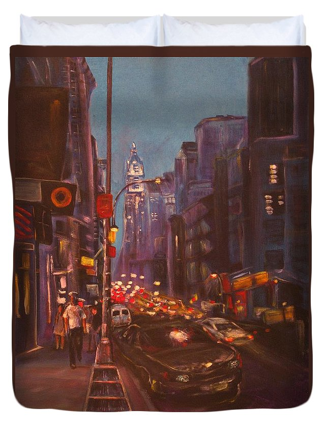 New York Duvet Cover featuring the painting Soho Artistic Dreams by Dennis Tawes