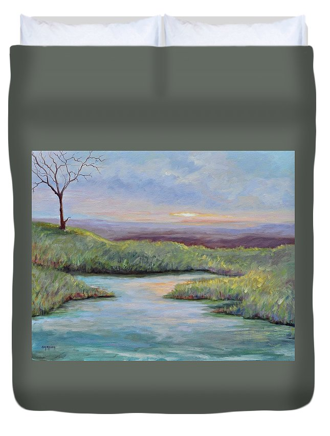 Lone Trees Duvet Cover featuring the painting Soledad by Ginger Concepcion