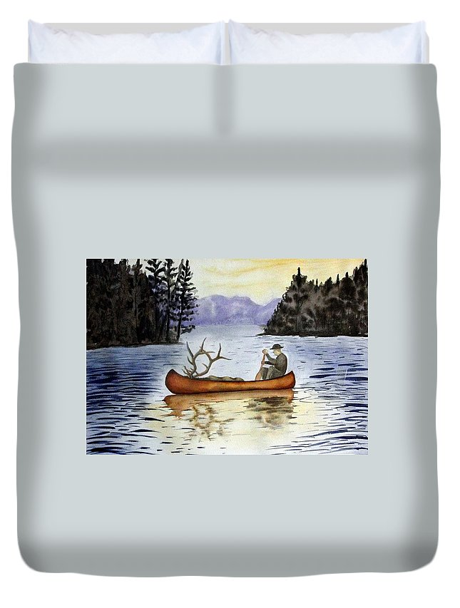 Canoe Duvet Cover featuring the painting Solitude by Jimmy Smith