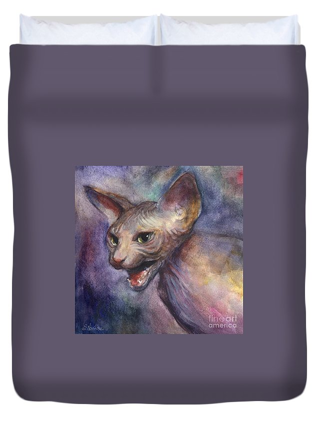 Sphynx Cat Picture Duvet Cover featuring the painting Sphynx Cat Painting by Svetlana Novikova