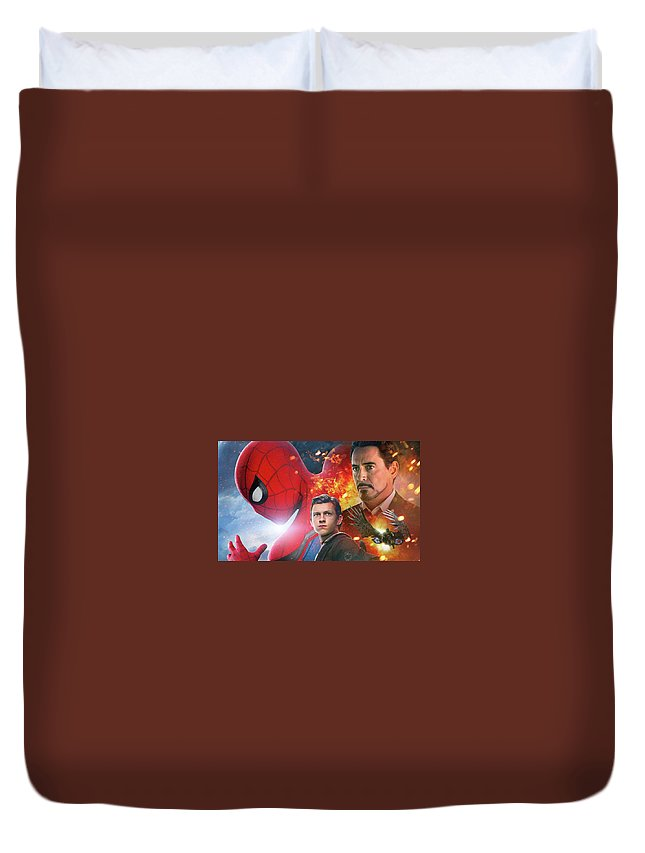 Spider-man Homecoming Duvet Cover featuring the digital art Spider-man Homecoming by Dorothy Binder