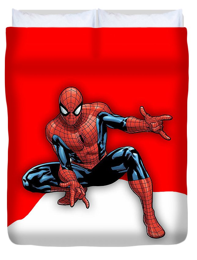 Spiderman Duvet Cover featuring the mixed media Spiderman Collection by Marvin Blaine