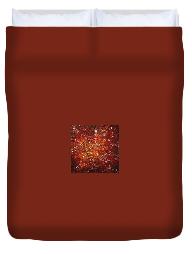 Abstract Duvet Cover featuring the painting Spirit Dance by Pat Purdy