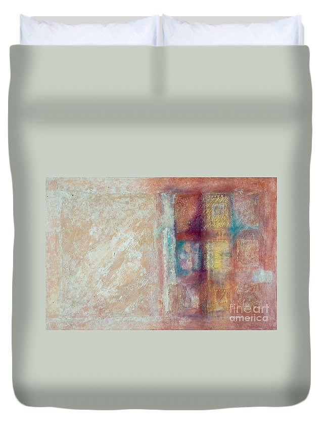 Mixed-media Duvet Cover featuring the painting Spirit Matter Cosmos by Kerryn Madsen-Pietsch