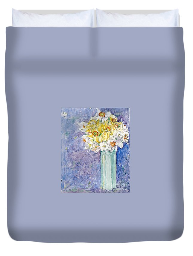 Watercolor Duvet Cover featuring the painting Spring Blossoms by Jan Bennicoff