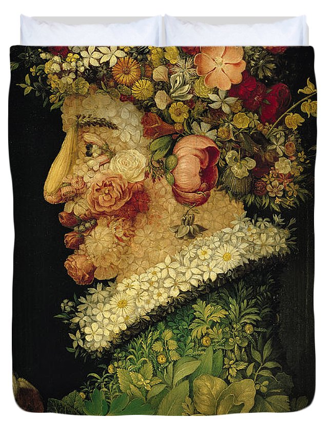 Spring Duvet Cover featuring the painting Spring by Giuseppe Arcimboldo