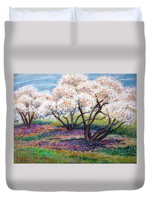 Oil Pastel Duvet Cover featuring the painting Spring Has Sprung by Art Nomad Sandra Hansen