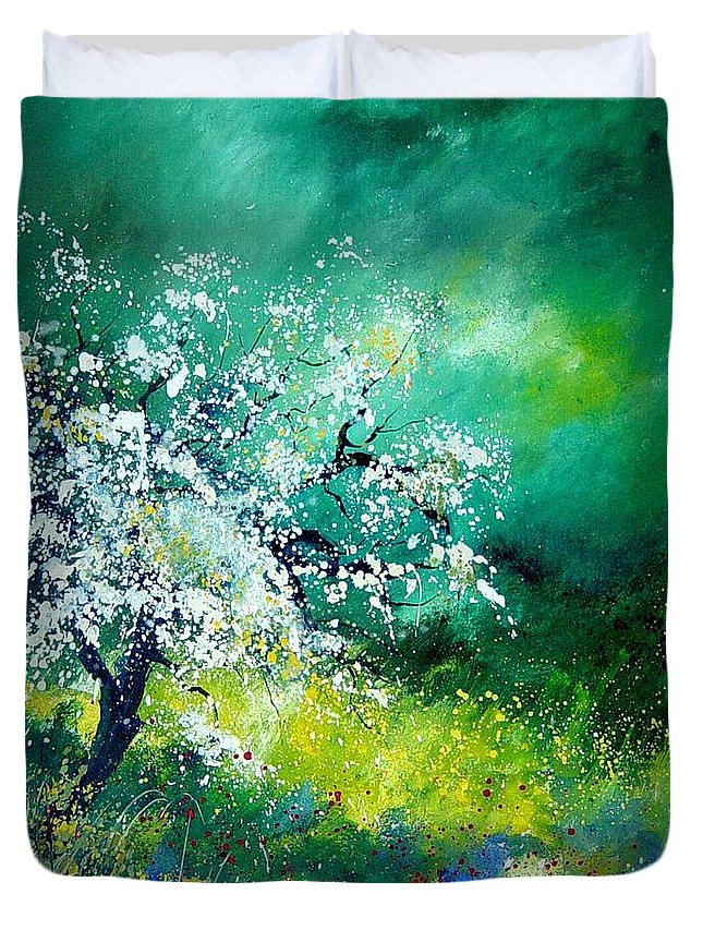 Flowers Duvet Cover featuring the painting Spring by Pol Ledent