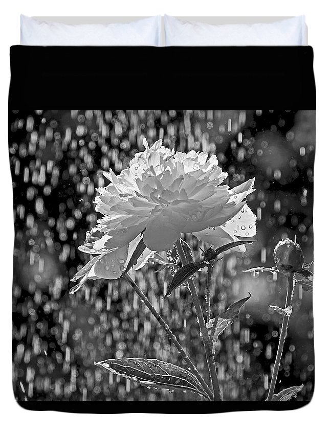 Peony Duvet Cover featuring the photograph Spring Rain - 365-13 by Inge Riis McDonald
