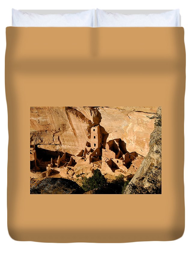 Square Tower Ruin Duvet Cover featuring the painting Square Tower Ruin by David Lee Thompson