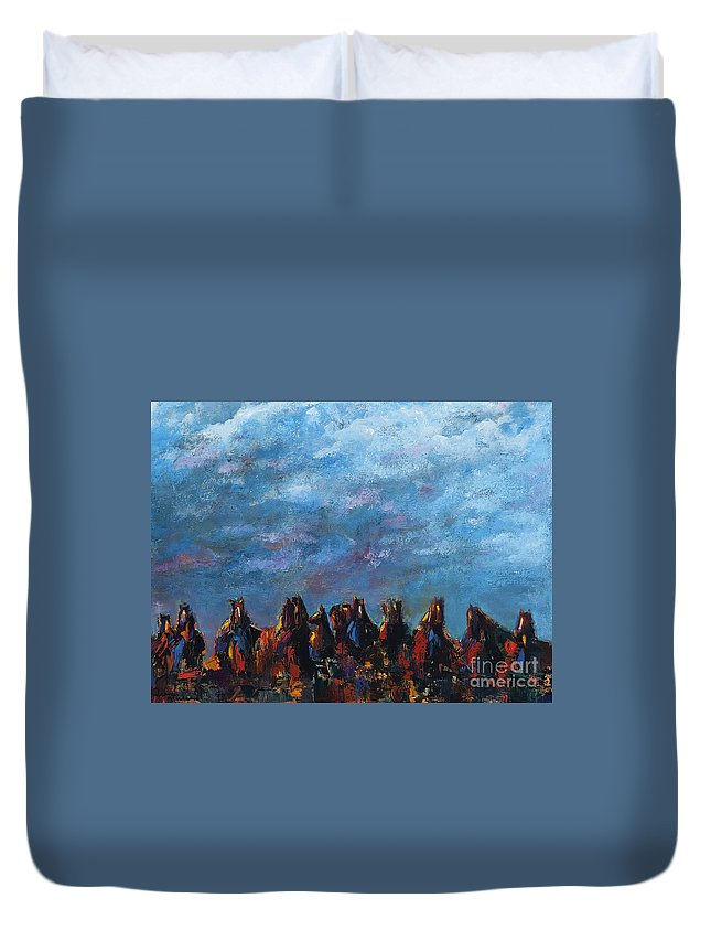 Horses Duvet Cover featuring the painting Stampede by Frances Marino