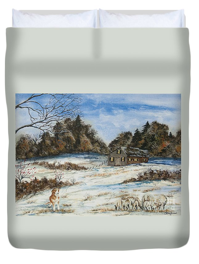 Dog Duvet Cover featuring the painting Standing Guard by Charlotte Blanchard